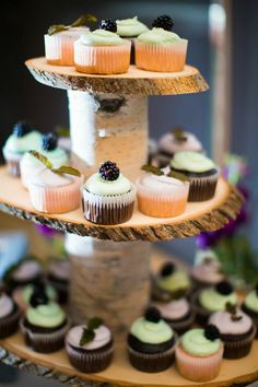 Rustic three tier wooden cupcake stand.