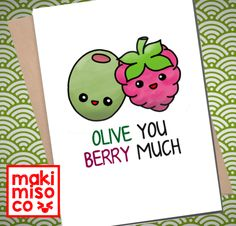 OLIVE You BERRY Much Greeting Card - Love birthday Boyfriend Girlfriend Print Anniversary Friend Cute Animal Pun Food Couple valentines - OLIVE You BERRY Much Greeting Card – Love birthday Boyfriend Girlfriend Print Anniversary Friend - Valentines Day Funny, Valentine Gifts, Diy Gifts For Boyfriend, Boyfriend Girlfriend, Boyfriend Card, Boyfriend Messages, Birthday Greetings For Boyfriend, Girlfriend Birthday Gifts, Drawings For Boyfriend