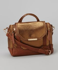 Look what I found on #zulily! Brown Metallic Faux Leather Crossbody Bag by Pink Cosmo #zulilyfinds
