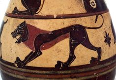 Lion painted on a late 7th cent. B.C.E. Etrusco-Corinthian wine-pitcher, in the National Etruscan Museum at Villa Giulia.