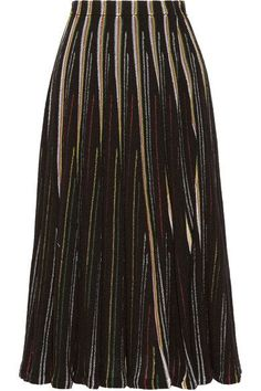 Adam Lippes' skirt is spun from striped open-knit cotton-blend. Designed with an elasticated waist, this midi style has soft godet pleating that creates a trumpet silhouette. Wear yours with a solid sweater or the coordinating top.
