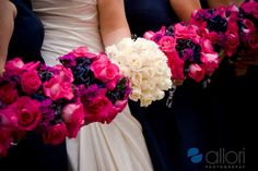 Purple pink white wedding bouquet ideas. ~ Love the flowers for the bridesmaides, but I don't really like the idea of white flowers for the bride. :)