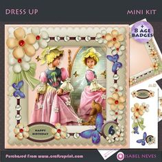 Dress Up Ages 2 9 Mini Kit on Craftsuprint designed by Isabel Neves - Dress UP Decoupage Mini Kit4 Sheet Mini Kit includes:8 Age Badges: 2,3,4,5,6,7,8,96 Sentiment Tags4 BlankSentiment Tags:Happy BirthdayPrecious GirlSpecial SisterSpecial DaughterYour Special Day - Now available for download!