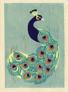 Indian PEACOCK colorful hand-pulled linocut illustration art print for wall and room decor, blue green, aqua, lime green, turquoise, teal