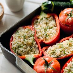 Herb rice stuffed vegetables. Perfect for a vegetarian dinner party. For the full recipe click the picture or visit redonline.co.uk