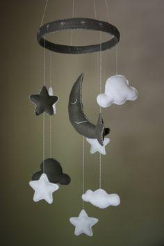 Mr. Sleepy Moon Mobile Baby Crib Mobile Felt Handmade Stars Moons Clouds on Etsy, $65.00