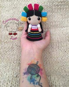No pattern just inspiration for a beautiful doll Crochet Dolls, Crochet Baby, Crochet Disney, Ballerina Doll, Amigurumi Tutorial, Mexican Party, Amigurumi Doll, Beautiful Dolls, Crochet Necklace