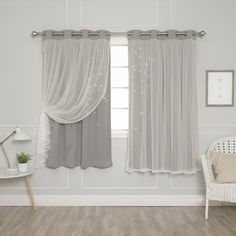 Add a magical sparkle to your space with the whimsical light pattern our Tulle Overlay Star Cut Out Blackout Curtains create. Perfectly layered, these star cut out blackout panels and elegant sheers. Short Window Curtains, Cute Curtains, Modern Curtains, Colorful Curtains, Drapes Curtains, Short Curtains Bedroom, Nursery Curtains, Drapery, Bedroom Decor
