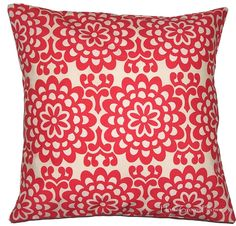 Dorm Bedding, Decorative Throw Pillow Cover, Toss, 16x16 - Amy Butler Fabric, Wallflower Cherry Red,  Removable Washable Cover