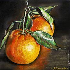 Купить АПЕЛЬСИНЫ и ГРАНАТ серия натюрмортов - оранжевый, апельсин, рыжий, цитрус, фрукт, картина пастелью