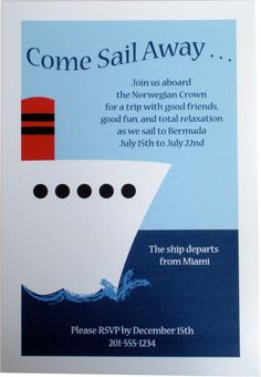 https://flic.kr/p/67Qtp7 | Party Invitation - Nautical Cruise Ship Boat | This is a picture of our Cruise Ship Boat Party Invitation.