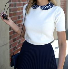 Pleated Skirt and Lace Collar Sweater | MEMORANDUM | NYC Fashion & Lifestyle Blog for the Working Girl
