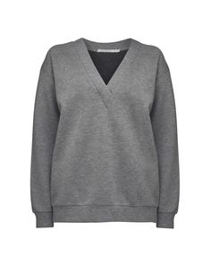Candi sweatshirt -Women's sweatshirt in soft bonded jersey. Features deep v-neckline and dropped shoulder. Relaxed fit. Slightly below-hip length.