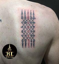Tatuagem Sak Yant, Sak Yant Tattoo, Khmer Tattoo, Thai Tattoo, Irezumi Tattoos, Marquesan Tattoos, Mandala Tattoo Design, Tattoo Designs, New Zealand Tattoo