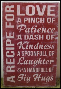 A recipe for Love hand painted pine sign by KimzCornersigns