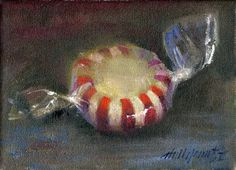 """Hall Groat II Paintings: Peppermint Candy 5""""x7"""" Oil on canvas"""