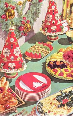 Minus those ghastly trees lol Christmas Feast (Better Homes and Gardens Best Buffets, Vintage Christmas Party, Vintage Christmas Photos, Retro Christmas, Vintage Holiday, All Things Christmas, Christmas Holidays, Christmas Decorations, Christmas Buffet, Antique Christmas
