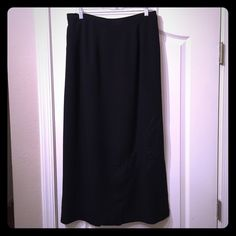 Lane Bryant skirt Black skirt with embroidered detail at the bottom, side zip Venezia Skirts Maxi
