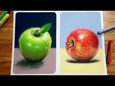 Oil Pastel Paintings, Oil Pastel Art, Oil Pastel Drawings, Pastel Paper, Oil Pastels, Apple Painting, Fruit Painting, Drawing Apple, Oil Pastel Techniques