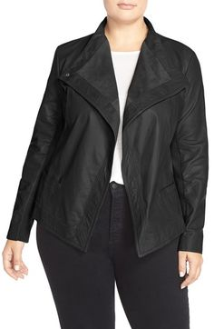 IN GREY!!! Sejour Asymmetrical Leather Jacket (Plus Size) available at #Nordstrom