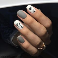 There are three kinds of fake nails which all come from the family of plastics. Acrylic nails are a liquid and powder mix. They are mixed in front of you and then they are brushed onto your nails and shaped. These nails are air dried. White Gel Nails, Cute Acrylic Nails, Acrylic Nail Designs, Black Nails, Matte Black, Acrylic Gel, Matte Almond Nails, Grey Matte Nails, Cute Nail Art Designs