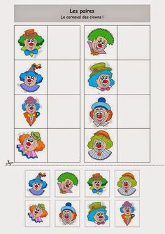 Les paires : le carnaval des clowns Plus Clown Crafts, Circus Crafts, Theme Carnaval, Visual Perception Activities, Es Der Clown, Free To Use Images, Circus Theme, Preschool Worksheets, Pre School