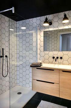 Love these white hexagon tiles amp; the black shower faucet Bathroom Tile Designs, Bathroom Interior Design, Bathroom Ideas, Bathroom Small, Bathroom Modern, Bathroom Black, Bathroom Renovations, Modern Shower, Master Bathroom