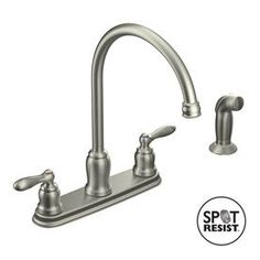 Moen Caldwell Spot Resist Stainless 2-Handle High-Arc Kitchen Faucet with Side Spray