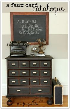 I love this thrift store find turned faux card catalog by 'q is for quandie' ( using the high quality and extremely affordable 'D. Awesome piece, and great vignette! Furniture Projects, Furniture Making, Furniture Makeover, Diy Furniture, Furniture Refinishing, Chair Makeover, Office Furniture, Antique Furniture, Bedroom Furniture