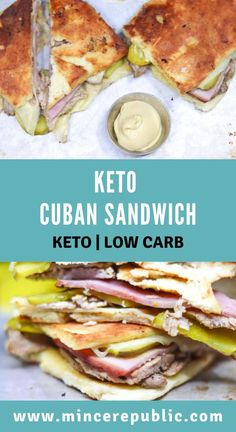This Keto Cuban sandwich Recipe makes a delicious low carb sandwich option. Filled with ham, pork, Swiss cheese and mustard, it'll satisfy your cravings and still be keto friendly. No Bread Diet, Best Keto Bread, Low Carb Sandwiches, Delicious Sandwiches, Recetas Sandwich Cubano, Kubanisches Sandwich, Sandwich Recipes, Chicken Sandwich, Pan Cetogénico