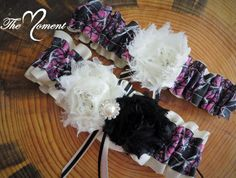 This adorable Garter Set is made with black camouflage ribbon, Ivory Satin Ribbon, accented with frayed black and Ivory shabby chic flowers and sparkling rhinestone brooch. Choose a charm to add that Wedding Dresses For Girls, Country Wedding Dresses, Country Weddings, Wedding Outfits, Camo Garter, Garter Set, Purple Wedding, Dream Wedding, Wedding Stuff