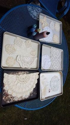 This is really cute, too. Thrift stores are awesome places to get doilies for cheap. Hmmm.....