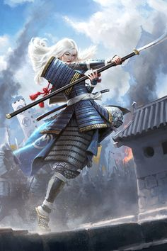 Ronin Samurai, Female Samurai, Fantasy Warrior, Fantasy Art, Warrior Pose, Samurai Concept, Systems Art, Le Clan, Samurai Artwork