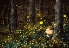 """Oowa's singing:  """"You would not believe your eyes~ If ten million fireflies~ light up the world as I fell asleep~~""""  - Fireflies by Owl City by [Jeanie Leung]"""