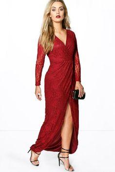Plus Natalie Lace Wrap Front Maxi Dress