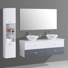 Meuble de salle de bain ALOA suspendu avec double vasque coloris blanc et noir Double Vanity, Bathroom, Houses, Bathroom Furniture, Master Bathroom Vanity, Washroom, Full Bath, Bath, Bathrooms