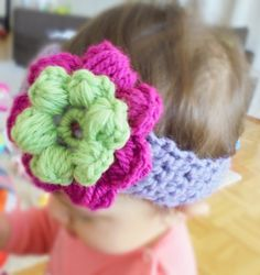 Pink Flower Headband Baby girl Headband Crochet by BabyandMeArts