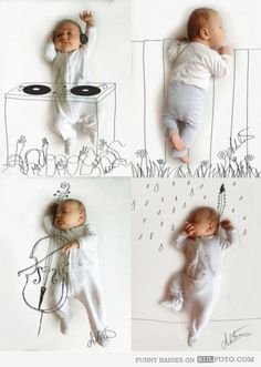 Cute baby drawings with photos of sleeping babies being a DJ, a cello player, a Native American Indian, and a kid looking over the fence.