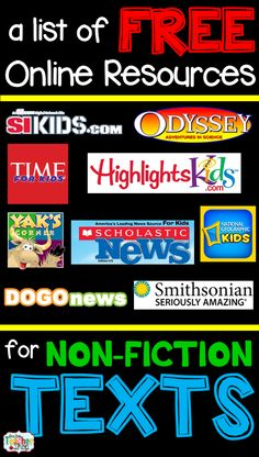 FREE online resources for non-fiction or informational text use in the elementary classroom!