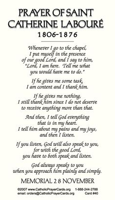Catholic Prayer Cards - St Catherine Laboure