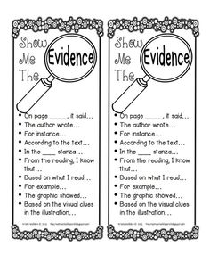 Show Me the Evidence free printable. Useful sentence starters for citing text evidence in student writing. Reading Strategies, Reading Skills, Reading Comprehension, Comprehension Strategies, Vocabulary Strategies, Reading Practice, Reading Groups, Reading Passages, Reading Activities