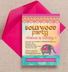 Bollywood Children's Personalised Birthday Party Invitation. DIY PDF Printable or Printed & Delivered.