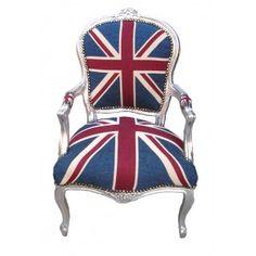 Chaise baroque UNION JACK Design argenté Angleterre sièges Luxe Comfort UK-Chair
