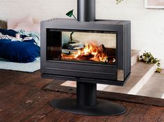 Invicta Nelson See-Thru Wood Burning Stove at Obadiah's – Freestanding fireplace wood burning Stove Fireplace, Fireplace Design, Wood Fireplace, Fireplace Ideas, Double Sided Stove, Wood Burning Logs, Cast Iron Stove, Freestanding Fireplace, Log Burner