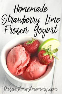 This healthy, homemade Strawberry Lime Frozen Yogurt is made with frozen strawberries and lime zest and tastes like my favourite margarita - the perfect blend of sweet and refreshingly tart! With only four ingredients, this beats anything you can buy in the store.