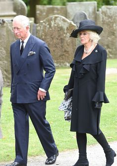 Close friend Prince Charles and the Duchess of Cornwall were among the mourners who gathered to pay tribute to the Dowager Duchess of Devonshire at St Peter's Church in Edensor, Derbyshire.