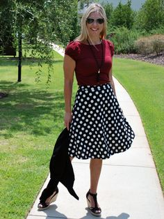 There is no doubt you can mix business with pleasure in this sassy polka dot skirt! It's always a party in polka dots when you rock this cutie! The black and white combination in this flirty skirt are