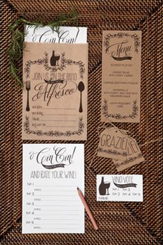 Dining Alfresco - Give your Italian dinner party an extra dose of romance with this paper package.    Alfresco Invitation  Alfresco Insert  Alfresco Menu  Alfresco Menu (blank)  Alfresco Favor Tag  Alfresco Vino Vote Card