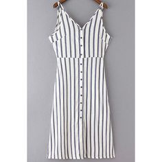 Striped V-Neck Sleeveless Dress (39 AUD) ❤ liked on Polyvore featuring dresses, striped dress, striped sleeveless dress, v neck dress, no sleeve dress and sleeveless dress