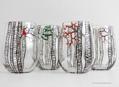 Hand Painted Stemless Wine Glasses With Four Seasons Birch Trees - Winter, Spring, Summer & Fall - Set Of 4 - Personalized by Mary Elizabeth Arts on Gourmly